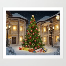 Wonderful big christmas tree with gift boxes in city at christmas night - Merry christmas to you Art Print