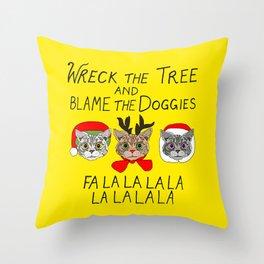 Holiday Cat Brats Throw Pillow