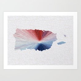 Colorful Art Puerto Rico Map Blue, Red and White Art Print