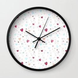 Hearts Chalk Pastel Doodle Art Wall Clock