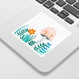 pink mushroom with floral elements Sticker