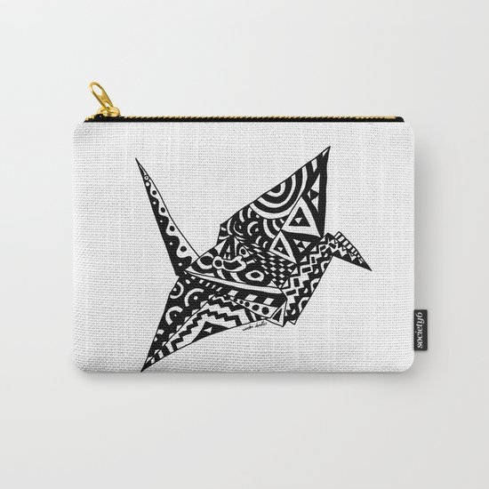 Paper Crane Bird Origami Doodle Carry-All Pouch