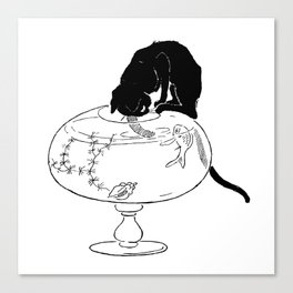 """Théophile Steinlen """"Cats: Pictures without Words (Cat and fishbowl)"""" (2) Canvas Print"""