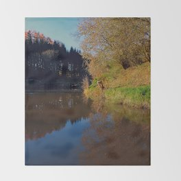 Romantic evening at the pond | waterscape photography Throw Blanket
