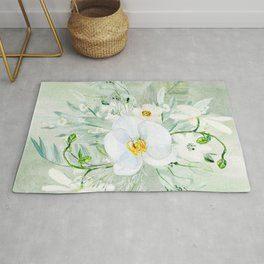White Orchid Series: Orchid and Eucalyptus Rug