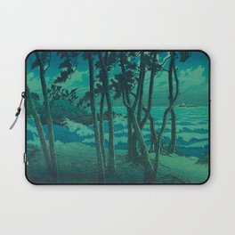 Kawase Hasui Vintage Japanese Woodblock Print Cluster Of Pine Trees Near The Water's Edge At Night Laptop Sleeve
