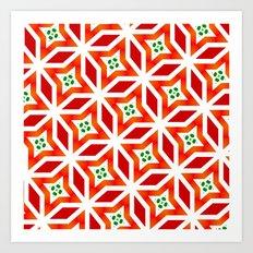 Red geometrical pattern1 Art Print