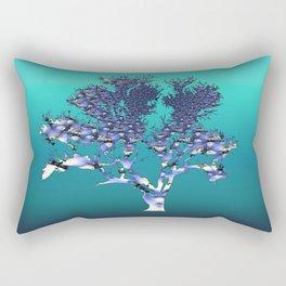 Blue Glass Tree Rectangular Pillow
