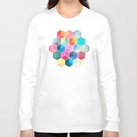 honeycomb Long Sleeve T-shirts featuring Crystal Bohemian Honeycomb Cubes - colorful hexagon pattern  by micklyn
