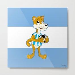 Cartoon puma on flag of Argentina Metal Print