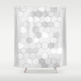 White Hex Shower Curtain