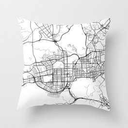 Shenzhen Map, China - Black and White  Throw Pillow