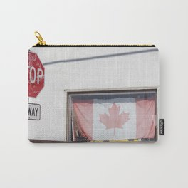 4-Way stop and Canadian flag in window Carry-All Pouch