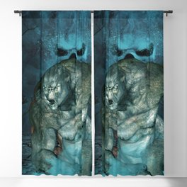 In the dark side of the night, running troll with skulls Blackout Curtain