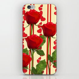 YELLOW SCARLET ROSES & RED VALENTINE HEARTS iPhone Skin