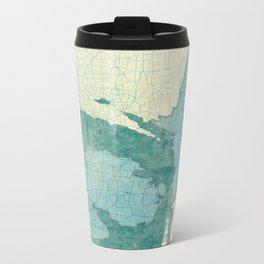 Michigan State Map Blue Vintage Metal Travel Mug