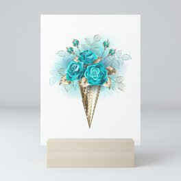 Waffle Cone with Turquoise Roses Mini Art Print