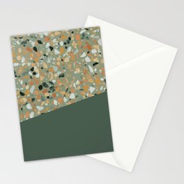 Terrazzo Texture Military Green #4 Stationery Cards