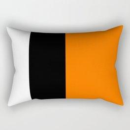 Modern White Black Orange Colorblock Rectangular Pillow