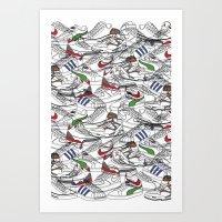 sneakers Art Prints featuring Sneakers by Adikt