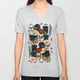 Botanical and Black Pugs Unisex V-Neck