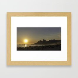 Sunset at Ipanema Beach Framed Art Print