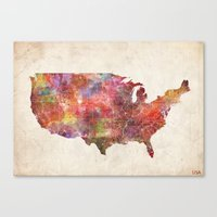 usa Canvas Prints featuring USA map by MapMapMaps.Watercolors
