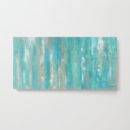Teal Faux Metal Print