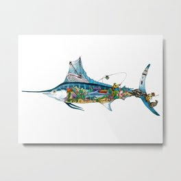 Colored Fisherman Marlin Metal Print