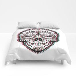 Sugar Skull (Calavera) Chromatic Aberration - Cyan Magenta Yellow Comforters