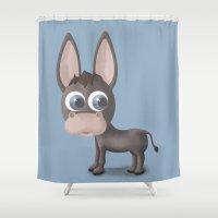 donkey Shower Curtains featuring DONKEY by Ainaragm