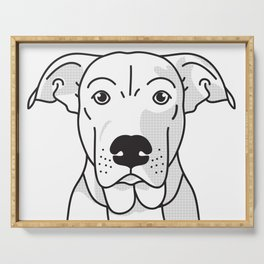 Labrador Mix Dog Portrait -Custom, black palette, minimal Serving Tray