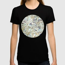 Pale Bright Mint and Sage Art Deco Marbling T-shirt