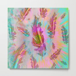 Pink and Turquoise Feathers Metal Print