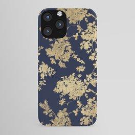 Elegant vintage navy blue faux gold flowers iPhone Case