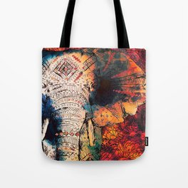 Indian Sketched Elephant Red Orange Tote Bag