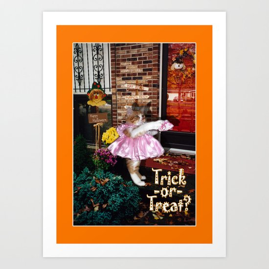 Trick-or-Treat Kitty Art Print