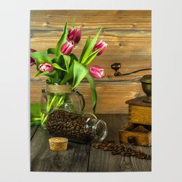 Coffee Grinder plus Jar of Beans and Tulips Poster