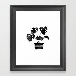 House plant linocut zen yoga black and white minimalist art prints for home Framed Art Print