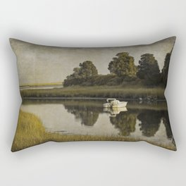Boat at Dusk with Olive Gold and Gray Rectangular Pillow