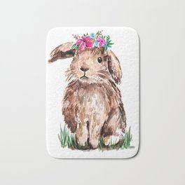 Bunny with Flower Crown Bath Mat