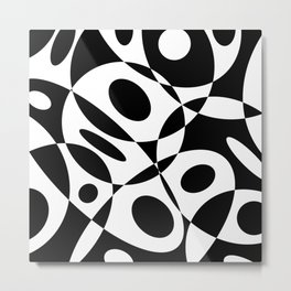 Mid Century Modern Black and White Cutout Circles // V1 Metal Print