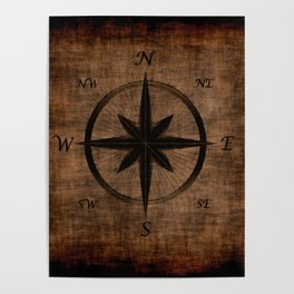 Nostalgic Old Compass Rose Poster