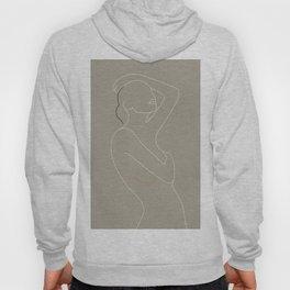 Minimal Line Art Woman Figure Hoody