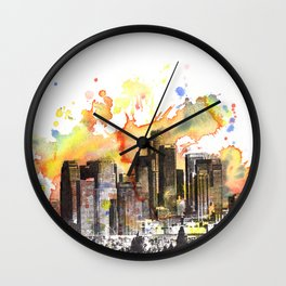Los Angeles Cityscape Skyline Painting Wall Clock