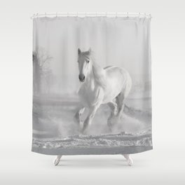 White Thoroughbred Horse Playing in Winter Snow black and white photograph / art photography Shower Curtain