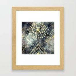 Evil Eye Gold Framed Art Print