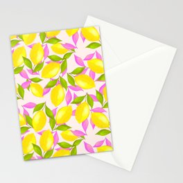 Lemon Pattern with Pink and Green Leaves Stationery Cards