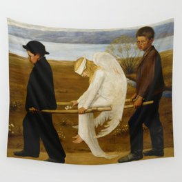1903 Classical Masterpiece 'The Wounded Angel' by Hugo Simberg Wall Tapestry