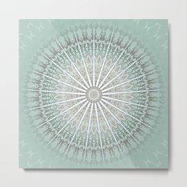 Mint Taupe Mandala Metal Print